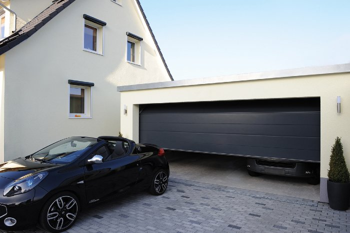 Automatic Roll up garage door large Solid Grey